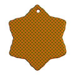 Heart-Shaped Shamrock Green on Orange St.Patrick?¯s Day Clover Snowflake Ornament (Two Sides)