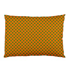 Heart-Shaped Shamrock Green on Orange St.Patrick?¯s Day Clover Pillow Case (Two Sides)