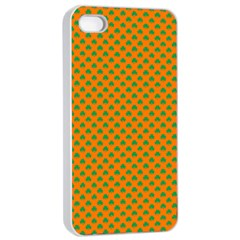 Heart-Shaped Shamrock Green on Orange St.Patrick?¯s Day Clover Apple iPhone 4/4s Seamless Case (White)