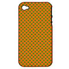 Heart-Shaped Shamrock Green on Orange St.Patrick?¯s Day Clover Apple iPhone 4/4S Hardshell Case (PC+Silicone)