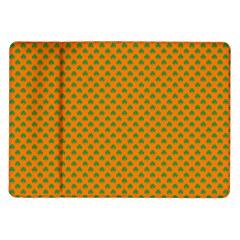 Heart-Shaped Shamrock Green on Orange St.Patrick?¯s Day Clover Samsung Galaxy Tab 10.1  P7500 Flip Case