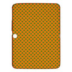 Heart-Shaped Shamrock Green on Orange St.Patrick?¯s Day Clover Samsung Galaxy Tab 3 (10.1 ) P5200 Hardshell Case