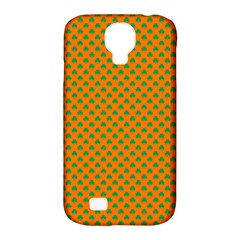 Heart-Shaped Shamrock Green on Orange St.Patrick?¯s Day Clover Samsung Galaxy S4 Classic Hardshell Case (PC+Silicone)