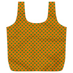 Heart-Shaped Shamrock Green on Orange St.Patrick?¯s Day Clover Full Print Recycle Bags (L)