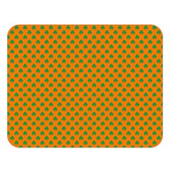 Heart-Shaped Shamrock Green on Orange St.Patrick?¯s Day Clover Double Sided Flano Blanket (Large)