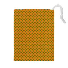 Heart-Shaped Shamrock Green on Orange St.Patrick?¯s Day Clover Drawstring Pouches (Extra Large)
