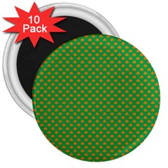 Orange Heart-Shaped Shamrocks on Irish Green St.Patrick s Day 3  Magnets (10 pack)