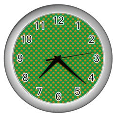 Orange Heart-Shaped Shamrocks on Irish Green St.Patrick s Day Wall Clocks (Silver)