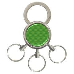 Orange Heart-Shaped Shamrocks on Irish Green St.Patrick s Day 3-Ring Key Chains