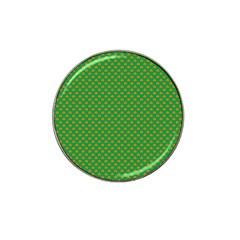 Orange Heart-Shaped Shamrocks on Irish Green St.Patrick s Day Hat Clip Ball Marker (4 pack)