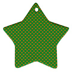 Orange Heart-Shaped Shamrocks on Irish Green St.Patrick s Day Star Ornament (Two Sides)