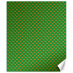 Orange Heart-Shaped Shamrocks on Irish Green St.Patrick s Day Canvas 20  x 24