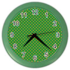 Orange Heart-Shaped Shamrocks on Irish Green St.Patrick s Day Color Wall Clocks