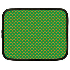 Orange Heart-Shaped Shamrocks on Irish Green St.Patrick s Day Netbook Case (XXL)