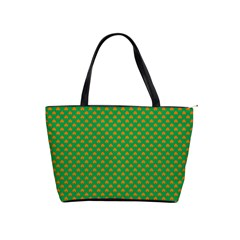 Orange Heart-Shaped Shamrocks on Irish Green St.Patrick s Day Shoulder Handbags