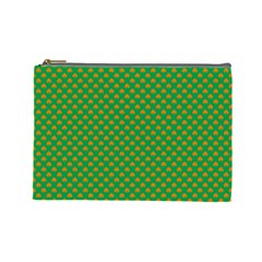 Orange Heart-Shaped Shamrocks on Irish Green St.Patrick s Day Cosmetic Bag (Large)