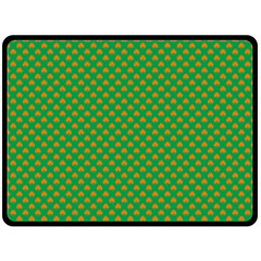 Orange Heart-Shaped Shamrocks on Irish Green St.Patrick s Day Fleece Blanket (Large)