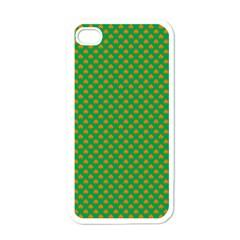 Orange Heart-Shaped Shamrocks on Irish Green St.Patrick s Day Apple iPhone 4 Case (White)