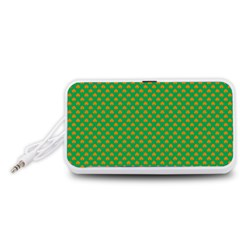Orange Heart-Shaped Shamrocks on Irish Green St.Patrick s Day Portable Speaker (White)