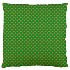 Orange Heart-Shaped Shamrocks on Irish Green St.Patrick s Day Large Cushion Case (One Side)
