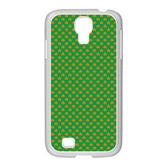 Orange Heart-Shaped Shamrocks on Irish Green St.Patrick s Day Samsung GALAXY S4 I9500/ I9505 Case (White)