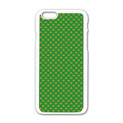 Orange Heart-Shaped Shamrocks on Irish Green St.Patrick s Day Apple iPhone 6/6S White Enamel Case