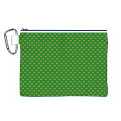 Orange Heart-Shaped Shamrocks on Irish Green St.Patrick s Day Canvas Cosmetic Bag (L)