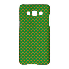 Orange Heart-Shaped Shamrocks on Irish Green St.Patrick s Day Samsung Galaxy A5 Hardshell Case