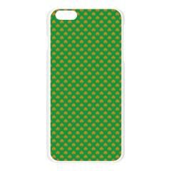 Orange Heart-Shaped Shamrocks on Irish Green St.Patrick s Day Apple Seamless iPhone 6 Plus/6S Plus Case (Transparent)