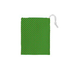 Orange Heart-Shaped Shamrocks on Irish Green St.Patrick s Day Drawstring Pouches (XS)