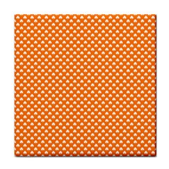 White Heart-Shaped Clover on Orange St. Patrick s Day Tile Coasters
