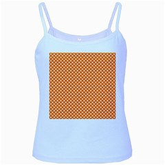 White Heart-Shaped Clover on Orange St. Patrick s Day Baby Blue Spaghetti Tank