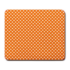 White Heart Shaped Clover On Orange St  Patrick s Day Large Mousepads