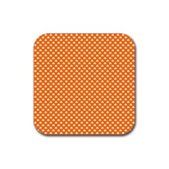 White Heart-Shaped Clover on Orange St. Patrick s Day Rubber Coaster (Square)