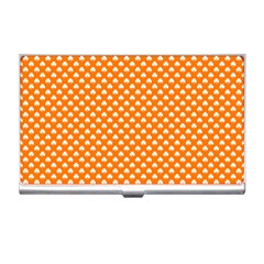 White Heart-Shaped Clover on Orange St. Patrick s Day Business Card Holders