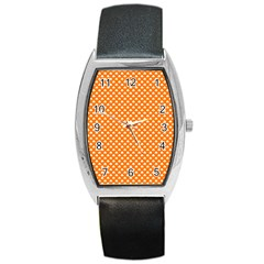 White Heart-Shaped Clover on Orange St. Patrick s Day Barrel Style Metal Watch