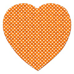 White Heart-Shaped Clover on Orange St. Patrick s Day Jigsaw Puzzle (Heart)