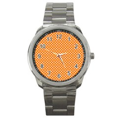 White Heart-Shaped Clover on Orange St. Patrick s Day Sport Metal Watch
