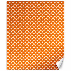 White Heart-Shaped Clover on Orange St. Patrick s Day Canvas 8  x 10