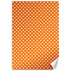 White Heart-Shaped Clover on Orange St. Patrick s Day Canvas 12  x 18