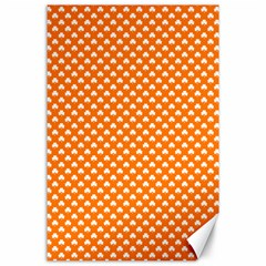 White Heart-Shaped Clover on Orange St. Patrick s Day Canvas 24  x 36