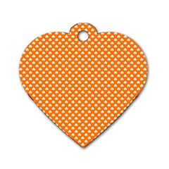 White Heart Shaped Clover On Orange St  Patrick s Day Dog Tag Heart (one Side)