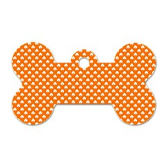 White Heart-Shaped Clover on Orange St. Patrick s Day Dog Tag Bone (One Side)