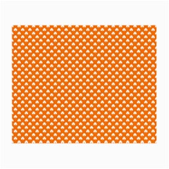 White Heart-Shaped Clover on Orange St. Patrick s Day Small Glasses Cloth (2-Side)