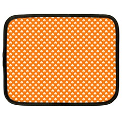 White Heart-Shaped Clover on Orange St. Patrick s Day Netbook Case (Large)