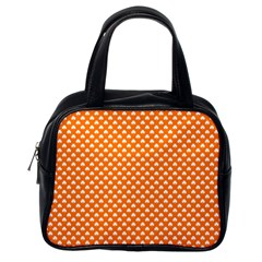 White Heart-Shaped Clover on Orange St. Patrick s Day Classic Handbags (One Side)