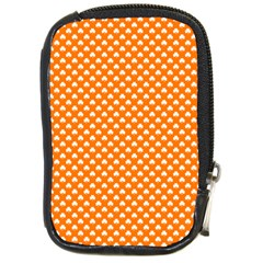 White Heart-Shaped Clover on Orange St. Patrick s Day Compact Camera Cases