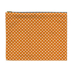 White Heart-Shaped Clover on Orange St. Patrick s Day Cosmetic Bag (XL)