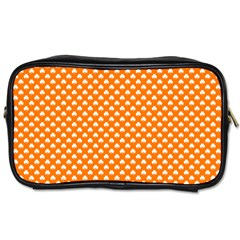 White Heart-Shaped Clover on Orange St. Patrick s Day Toiletries Bags
