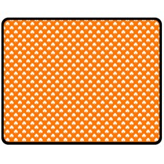 White Heart-Shaped Clover on Orange St. Patrick s Day Fleece Blanket (Medium)